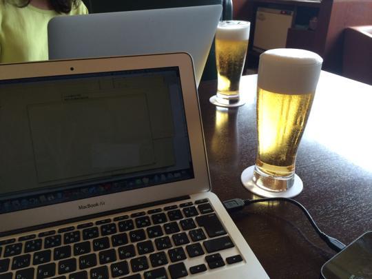 昼間に飲むビールは格別☆